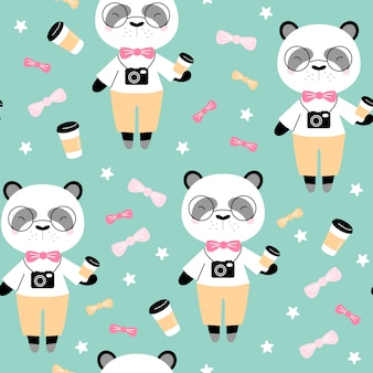 Seamless pattern with cute panda with coffee