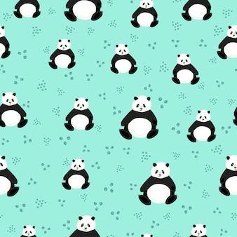 Seamless pattern with cute pandas