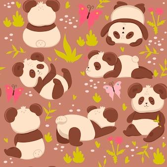 Бесшовный фон с милыми пандами.
