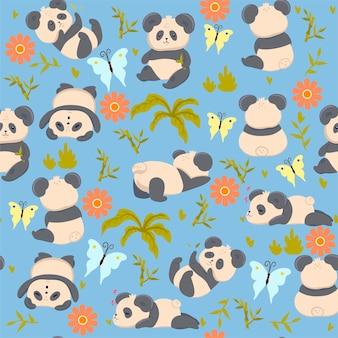 Seamless pattern with cute pandas.