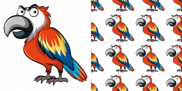 Seamless pattern with cute parrot
