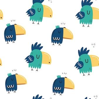 Бесшовный узор с милыми попугаями