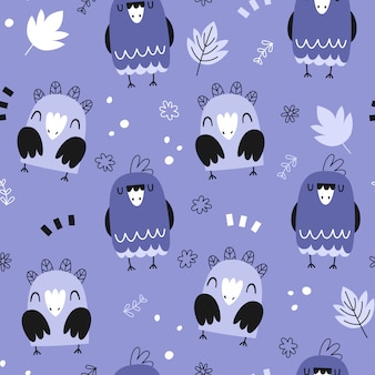 Seamless pattern with cute parrots
