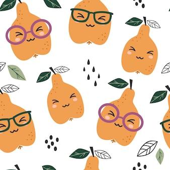 かわいい梨とのシームレスなパターン。テキスタイル、包装、包装紙のテクスチャ