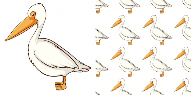 Seamless pattern with cute pelican