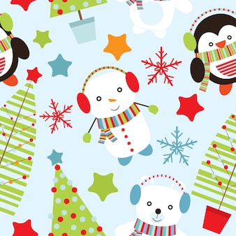 Seamless pattern with cute penguin and snowman on blue background