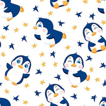 かわいいペンギンとのシームレスなパターン子供のためのパターンイラスト