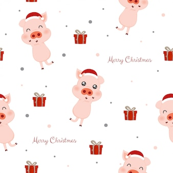 Seamless pattern with cute pigs and gift boxes.