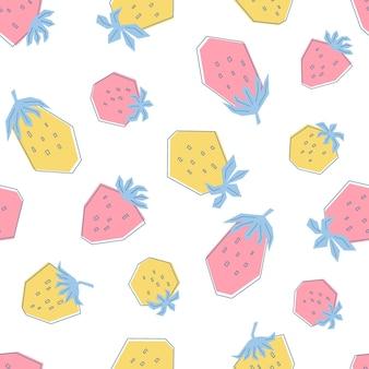 かわいいピンクと黄色のイチゴとのシームレスなパターン。白い背景の上の新鮮なベリーとフラットスタイルのイラスト。子供、服、テキスタイル、壁紙用に印刷します。ベクター