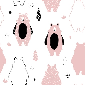 Seamless pattern with cute pink bears.
