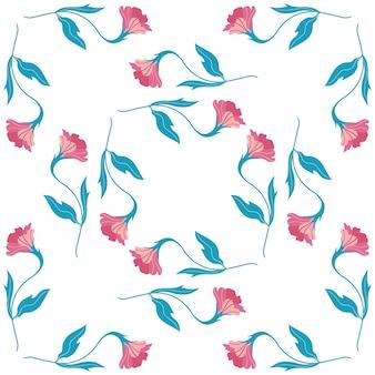 かわいいピンクの平らな花とのシームレスなパターン。白い背景の上の手描きのベクトルイラスト。印刷、ファブリック、テキスタイル、壁紙のテクスチャ。