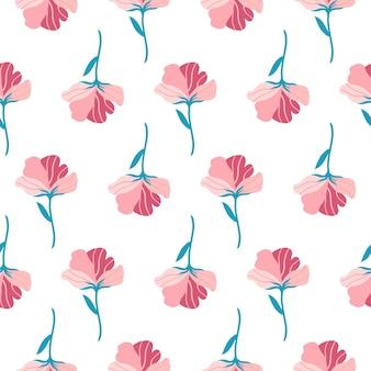 흰색 배경에 귀여운 핑크 플랫 꽃 손으로 그린 벡터 일러스트와 함께 완벽 한 패턴