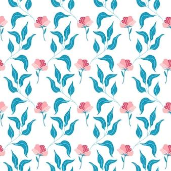 귀여운 핑크색 납작한 꽃과 잎이 있는 매끄러운 패턴입니다. 흰색 바탕에 손으로 그린 벡터 일러스트 레이 션. 인쇄, 직물, 섬유, 벽지 질감.