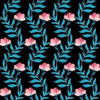 귀여운 핑크 플랫 꽃과 잎 원활한 패턴 검은 배경에 손으로 그린 벡터