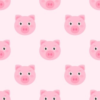 かわいいピンクの豚の顔とのシームレスなパターン