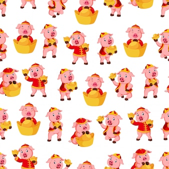 Seamless pattern with cute pink pig