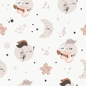 Seamless pattern with cute planets, stars and moons. childish rock and roll music texture, pastel colors