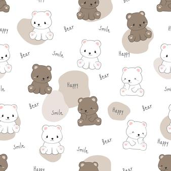 Seamless pattern with cute polar and teddy bear cartoon doodle