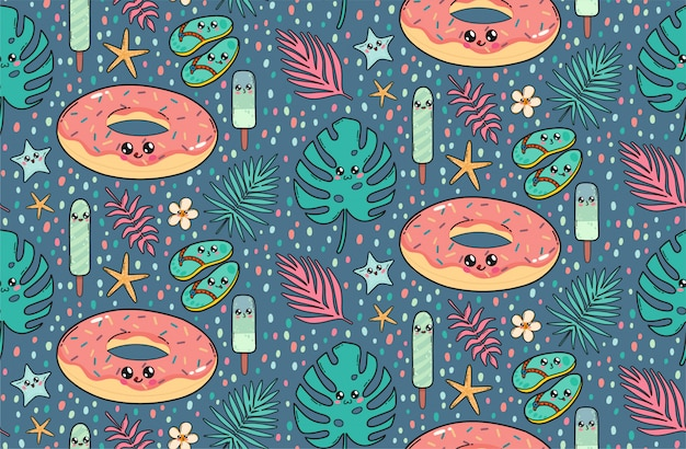 Seamless pattern with cute pool float donut, slates, ice creams, and tropical leaves in japan kawaii style