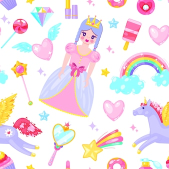 Seamless pattern with cute princess, unicorn, clouds, hearts and other cartoon elements.