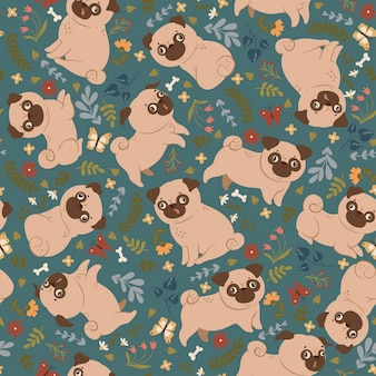 Seamless pattern with cute pugs and flowers