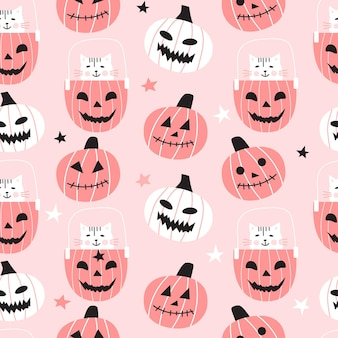 Seamless pattern with cute pumpkins and cats. halloween design for fabric and paper, surface textures.