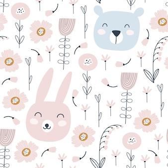 귀여운 토끼, 곰, 꽃과 완벽 한 패턴입니다. 동물 패턴. 유치한 인쇄. 삽화