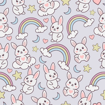 Seamless pattern with cute rabbit character