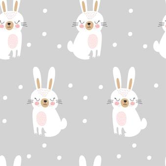 かわいいウサギとのシームレスなパターン。子供っぽい。