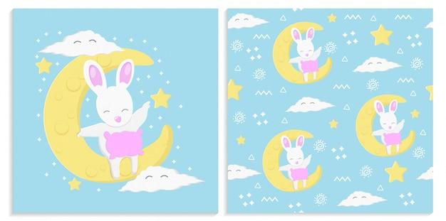 月とかわいいウサギとのシームレスなパターン