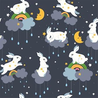 Бесшовный фон с милыми кроликами и облаками. векторная графика.