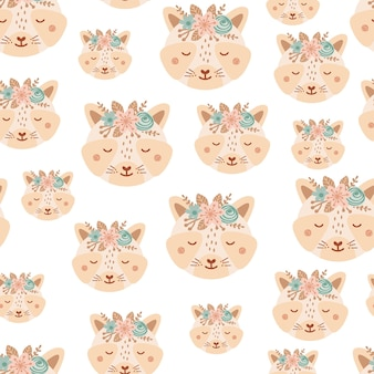 Seamless pattern with cute raccoon and bouquet pink and blue flowers. background with wild animals in flat style. illustration for kids. design for wallpaper, fabric, textiles, wrapping paper. vector