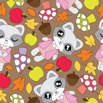 Seamless pattern with cute raccoon girls, apple, mushroom, and mapple leaves on brown background vector cartoon suitable for kid autumn season wallpaper design, scrap paper and kid fabric clothes background