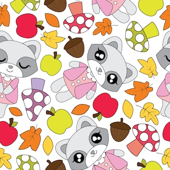 Seamless pattern with cute raccoon girls, apple, mushroom, and mapple leaves on white background vector cartoon suitable for kid autumn season wallpaper design, scrap paper and kid fabric clothes background