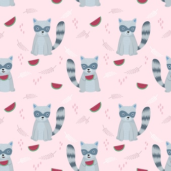 Seamless pattern with cute raccoon and watermelon