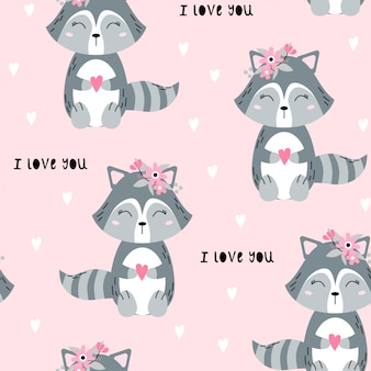 Seamless pattern with cute raccoon.