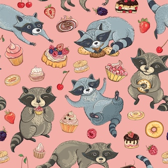 Seamless pattern with cute raccoons, cakes and berries