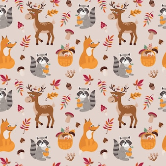 Seamless pattern with cute raccoons, foxs, deers
