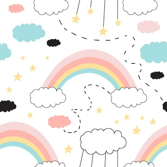 Seamless pattern with cute rainbow, stars, clouds.