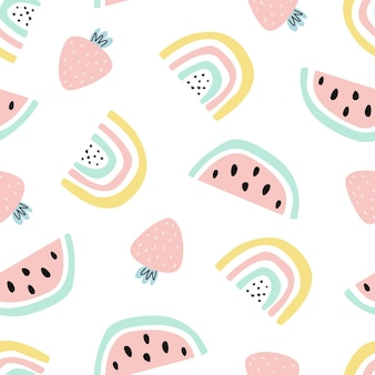 Seamless pattern with cute rainbow and strawberry fruit on white background vector illustration