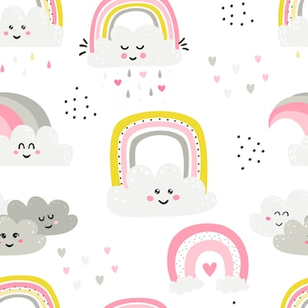 Seamless pattern with cute rainbows