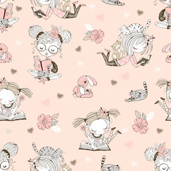 Seamless pattern with cute reading girls.