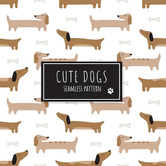 Seamless pattern with cute red dachshunds.