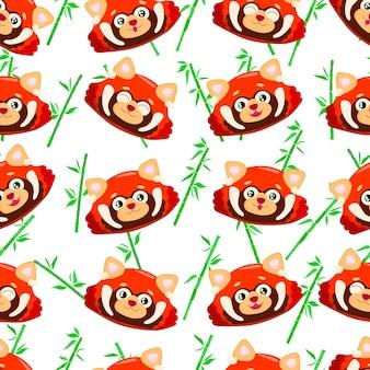 Seamless pattern with cute red panda little panda pattern with ailurus fulgens on white