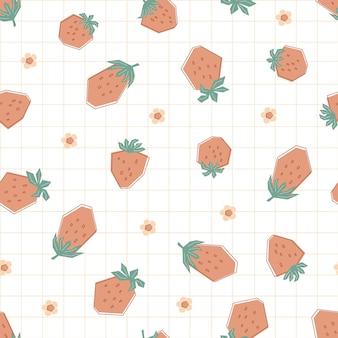 パステルカラーのかわいい赤いイチゴと花とのシームレスなパターン。白い背景の上の新鮮なベリーとフラットスタイルのイラスト。子供、服、テキスタイル、壁紙用に印刷します。ベクター