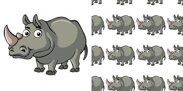 Seamless pattern with cute rhino