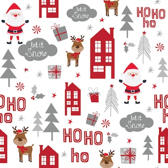 Seamless pattern with cute santa clause, reindeer and christmas ornament, vector illustration