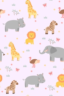 Seamless pattern with cute savanna animals.