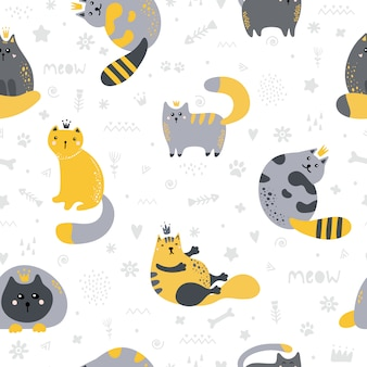 Seamless pattern with cute scandinavian style cats