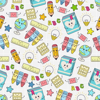 Seamless pattern with cute school object